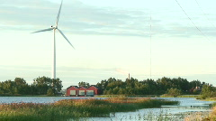 Wind power electric station at sunrise 24 Stock Footage