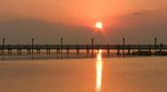 Stock Video Footage of Sunset fishing pier seagulls orange Texas HD