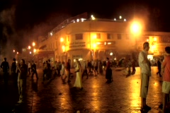 Busy street Morocco at night Stock Footage