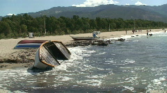 Upturned boats on the beach. HD 1080i with sound Stock Footage