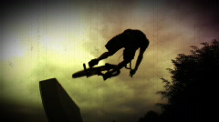 Old film style BMX clip Stock Footage