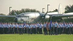 USAF Basic Trng grad parade flags aircraft HD Stock Footage