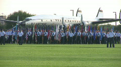 USAF Basic Trng grad parade flags HD Stock Footage