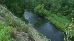 Steep slope to the river Stock Footage