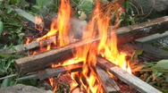 Stock Video Footage of Burning fire in outdoors fireplace 11