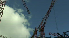 Large construction tower cranes. HD 1080i Stock Footage