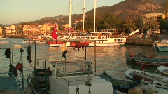 Fishing Boats in harbor at sunrise. HD 1080i Stock Footage