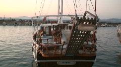 Gulet cruise ship at sunset Stock Footage