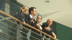 Businessteam on balcony close Stock Footage