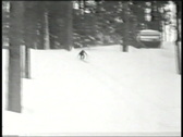 Stock Video Footage of Ski crash-From 1930's film