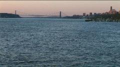 NYC Hudson River bridge sunset Stock Footage