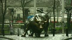 Wall Street Bull Statue Stock Footage