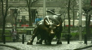 Stock Video Footage of Wall Street Bull Statue