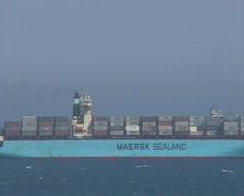 Cargo freighter in Málaga Stock Footage