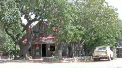 Luckenbach Texas store oak tree and pickup tree HD Stock Footage