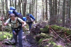 2 hikers on mountain trail Stock Footage