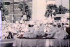 Parade float with women-From 1960s film - stock footage