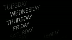 DAYS AND MONTHS SCROLLING Stock Footage