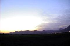 Pan of mountains at night Stock Footage