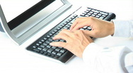 Keyboard manager with shirt Stock Footage