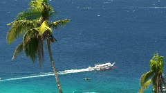 Traditional filipino Banka outrigger boat on the ocean in Philippines Stock Footage