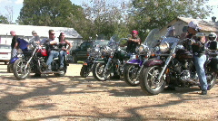 Harley motorcycle club leaving Lukenbach TX HD Stock Footage
