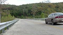 Road bridge car crossing away HD Stock Footage