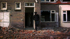 Standing by Destroyed Houses Stock Footage
