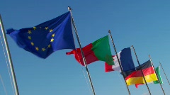European country flags Stock Footage