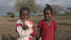 Ethiopia: Girls smile before going in to school. - stock footage