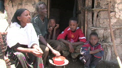 Ethiopia: Family eats a simple meal Stock Footage