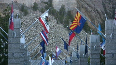 State Flags at Mt. Rushmore - stock footage