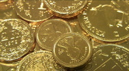 Stock Video Footage of Gold coins