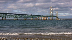 Waves Near Mackinac Bridge Stock Footage