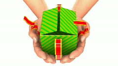 HANDS CARRY GIFT ZOOM  - stock footage
