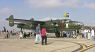 Stock Video Footage of B-25 Mitchell bomber airshow HD