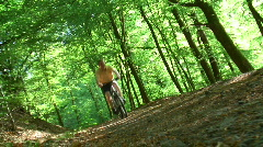 Mountain biker taken with inclined camera Stock Footage
