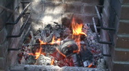 Stock Video Footage of Burning fire in outdoors fireplace 17