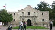 Stock Video Footage of Alamo shrine front tourists Timelapse HD