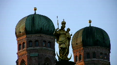Germany Munich Church of our lady New town hall Rathaus Stock Footage