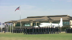 Lackland AFB HQ and Airmen marching HD Stock Footage
