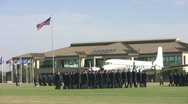Stock Video Footage of Lackland AFB HQ and Airmen marching HD