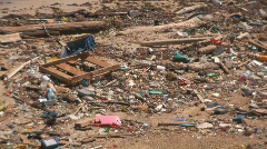 Beach with pollution - pan left Stock Footage