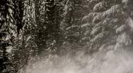 Gondola moving thru blowing snow HD Stock Footage