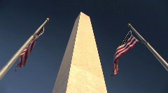Washington Monument and American Flags in Washington DC - stock footage
