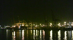 Industrial port at night Stock Footage