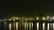 Stock Video Footage of Industrial port at night