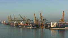 Industrial port in the morning Stock Footage