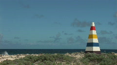 Beacon & a rough shore - right side Stock Footage