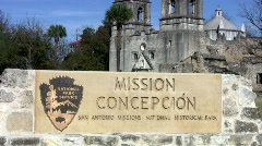 Mission Concepcion zoom out sign HD Stock Footage